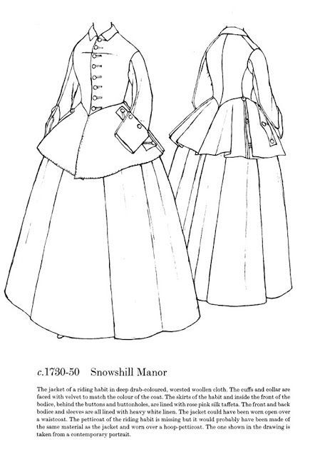 Snowshill Manor riding habit in Patterns of Fashion 1: Englishwomen's dresses and their construction, c. 1660-1860, by Janet Arnold