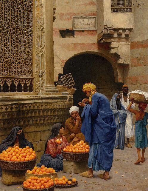 On a wall: Orange Seller - Marchande d'oranges by Ludwig Deutsch. Enzie Shahmiri, via Flickr