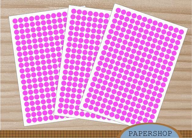 Etiketten - 247 Klebepunkte 10mm pink - ein Designerstück von Papershop bei DaWanda