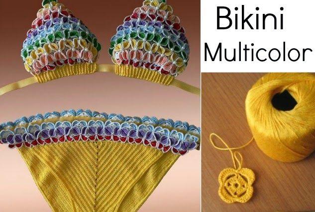 Bikini Multicolor Punto Flor Tutorial
