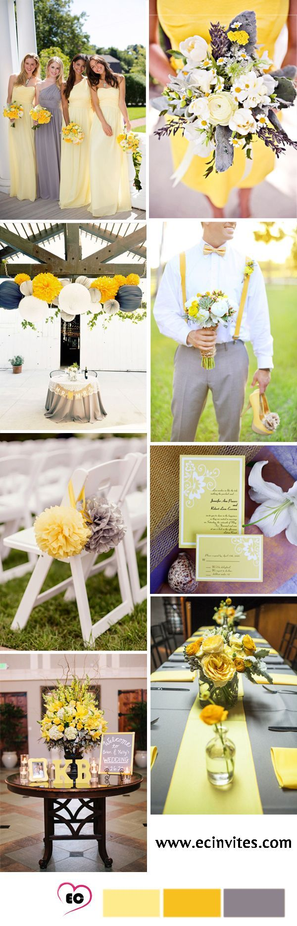 Amarillo y gris como paleta de colores para la decoración de tu boda. #BodasAmarillo