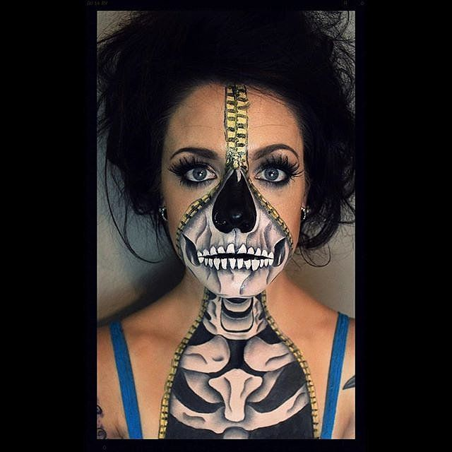 32 skeleton makeup transformations for a halloween beyond the grave - Skull Face Painting Ideas For Halloween