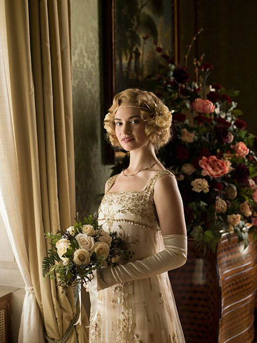 downton abbey lady rose 39 s wedding dress revealed in