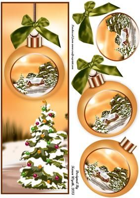 A lovely Christmas baubles DL quick card with additional bauble decoupage and bow topper. xk