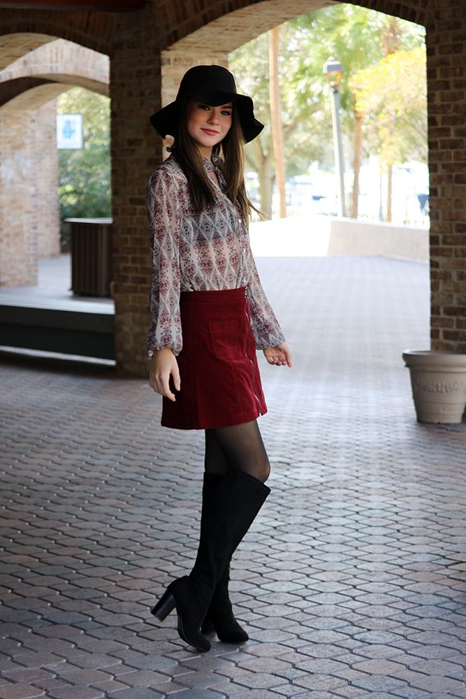 How to style a red corduroy skirt for fall