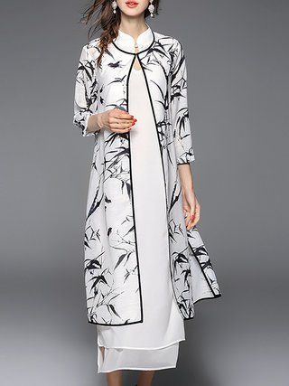 White Two Piece Printed 3/4 Sleeve Midi Dress