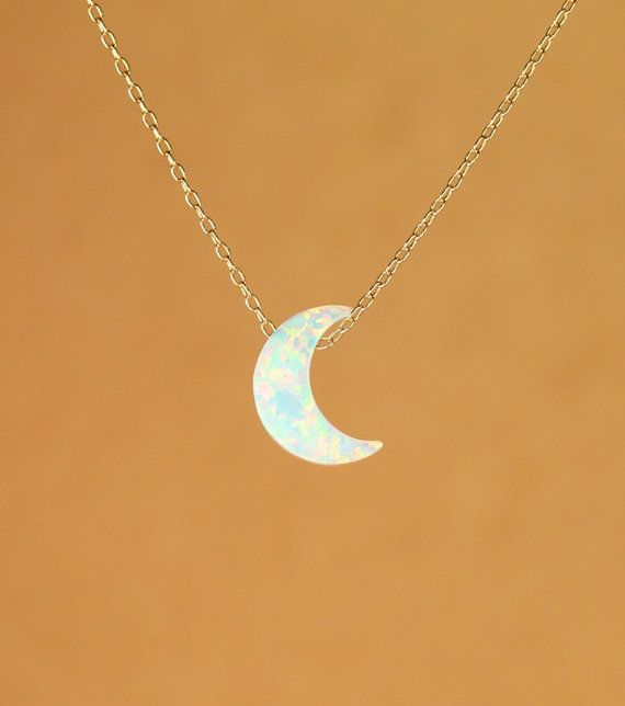 Moon necklace opal moon necklace crescent moon by BubuRuby Opal is my birth stone :)
