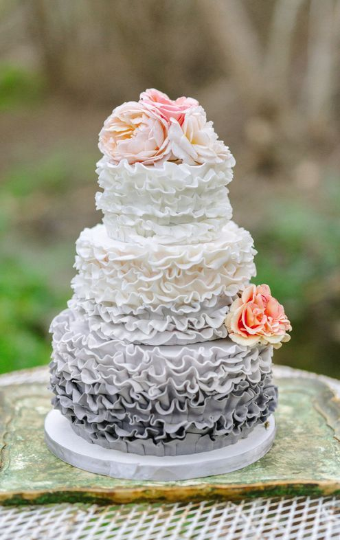 Uniquely chic three tier grey ombre textured wedding cake; Featured Photographer: Mike Arick Photography