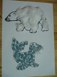 Maro's kindergarten:Polar bear and seal craft