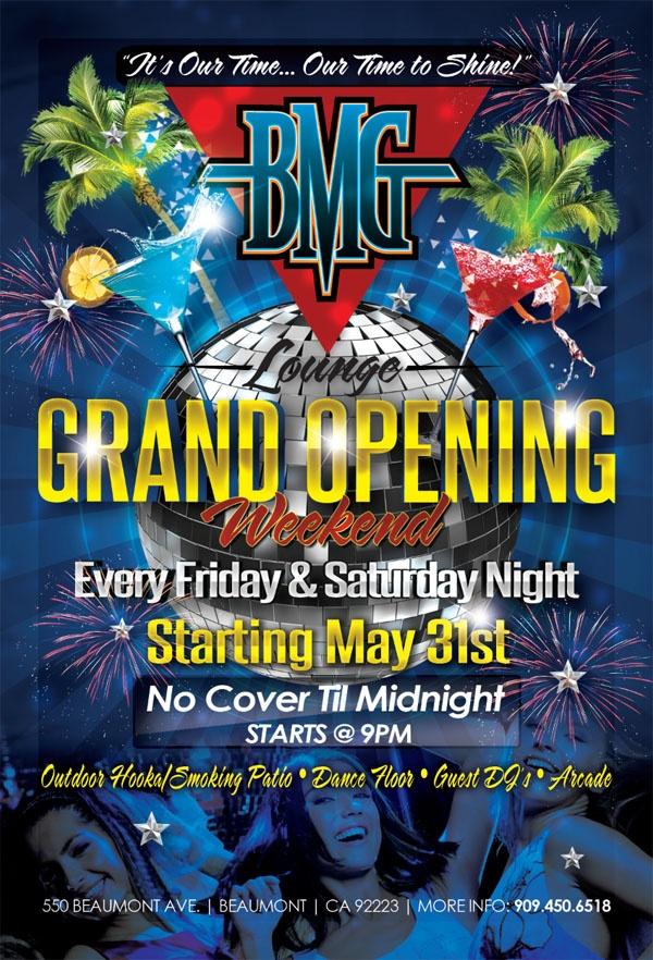 Bmg Lounge Grand Opening Flyer  Graphic Design Portfolio