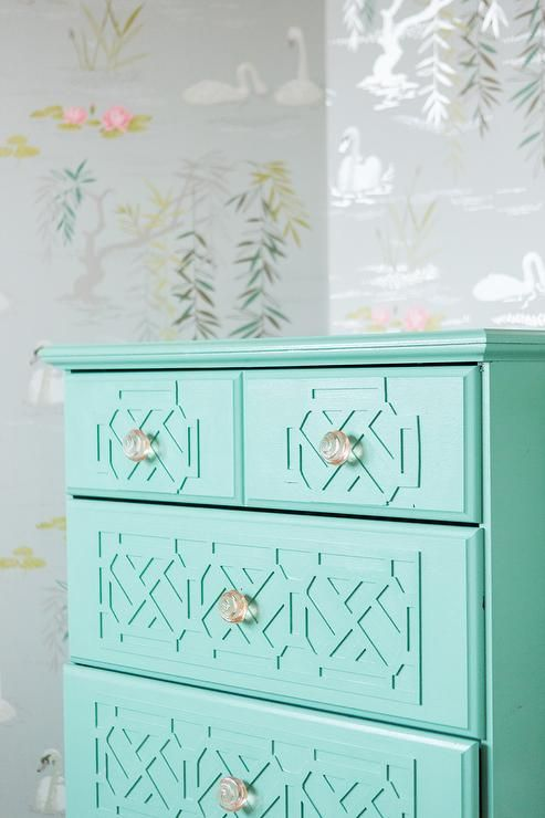 Stunning Toddler S Room Features Walls Clad In Osborne Little Swan Lake Wallpaper Lined A Turquoise