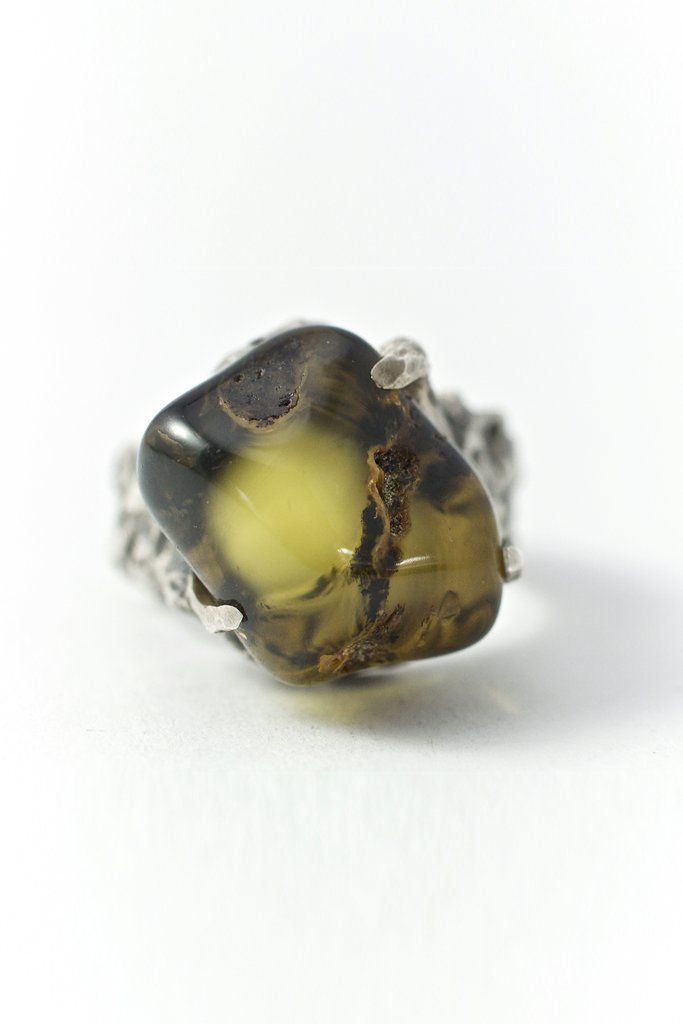 """Sterling Silver and Baltic Green Amber Ring /""""Autumn/"""""""