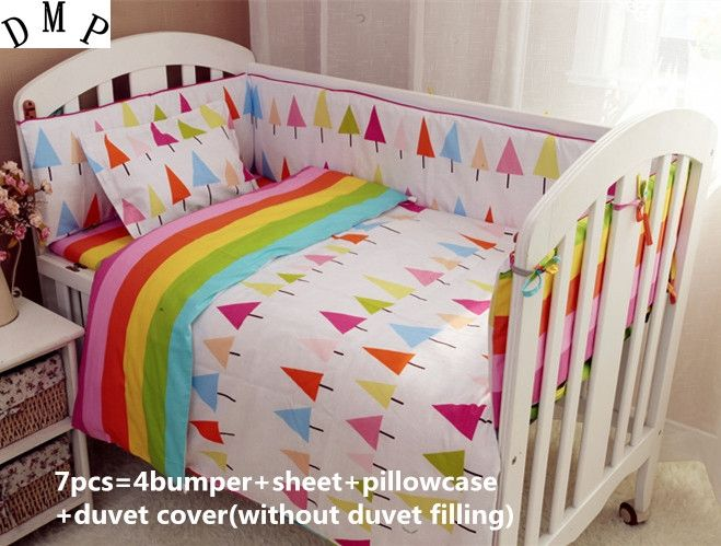 42.80$  Buy here - http://aliv8m.shopchina.info/1/go.php?t=32620861753 - Promotion! 6/7PCS cotton baby bedding set bed around the crib set hot ,Duvet Cover,120*60/120*70cm  #SHOPPING