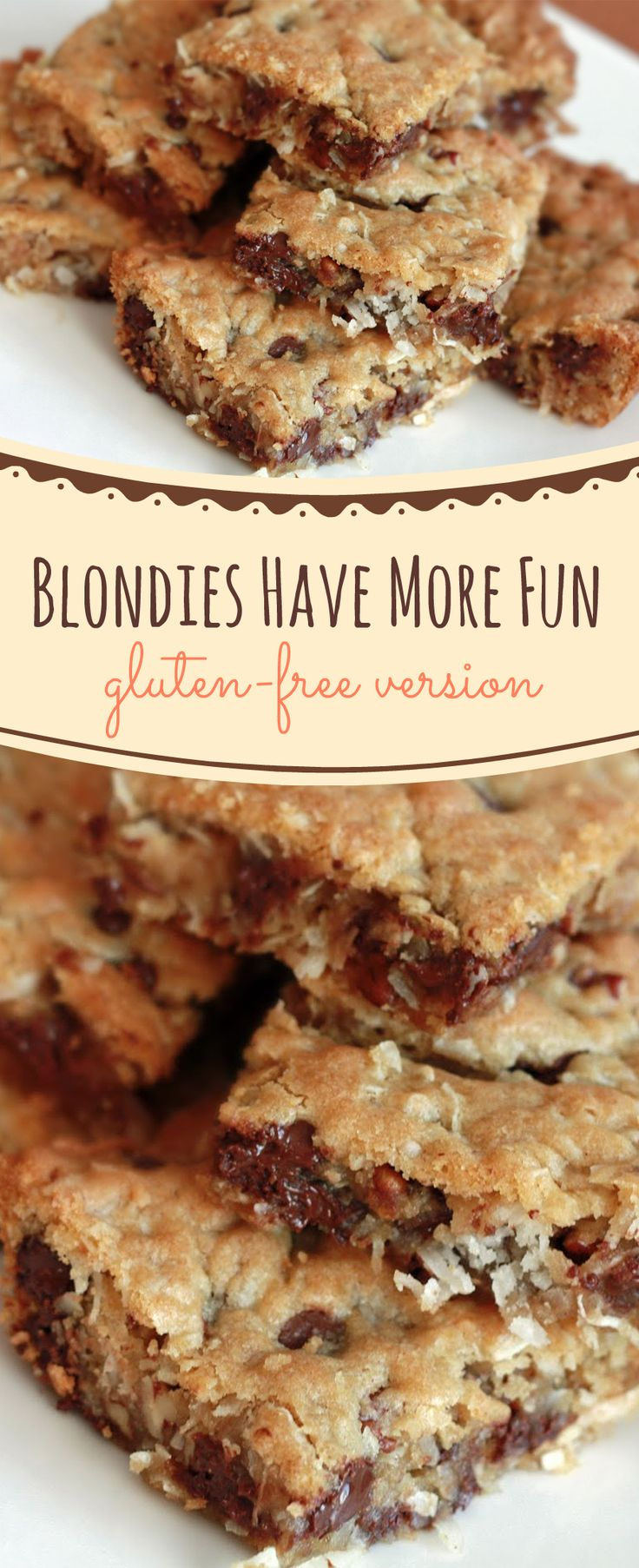 I always get requests for #glutenfree desserts, so I'm going to share with you my latest version of these blondies, which is gluten-free and of course all #healthy! ==>> thedessertangel.com/blondies-have-more-fun-pin