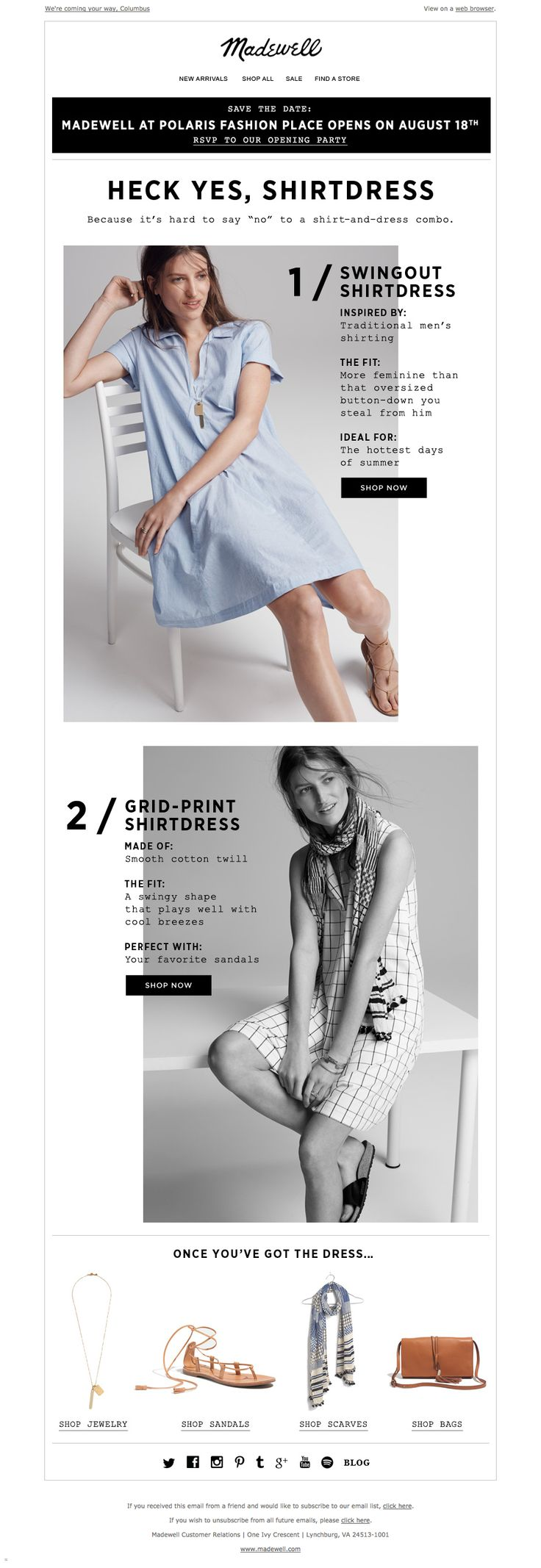 The shirtdress email / JCREW