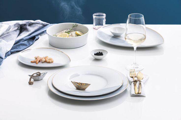 "Magic Grip Table, Dekor ""Ocean of Gold""   KAHLA Porzellan, Design: Laura Görß"