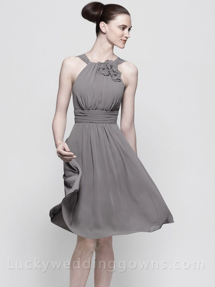 Halter Chiffon Knee Length Bridesmaid Dress with Flower and Shirred Waistline