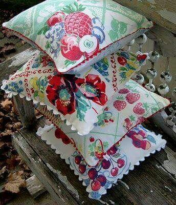 Vintage Tablecloth pillows