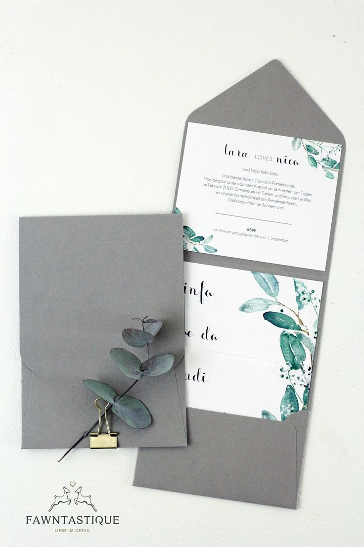Poketfolder wedding invitation with eucalyptus and gold elements