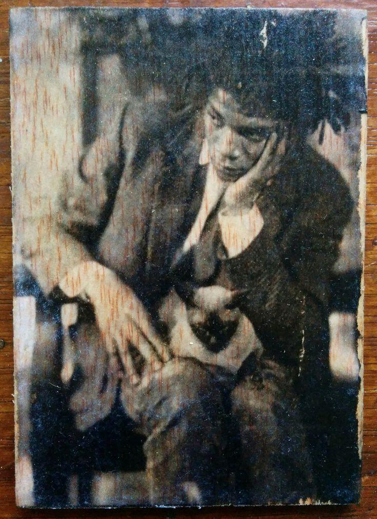 Jean Michel Basquiat - Photo transfer on wood. Handmade.