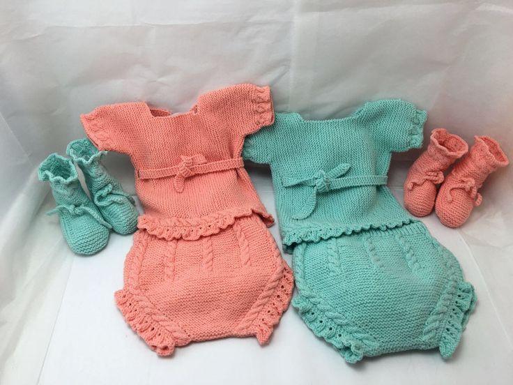 Conjunto de jersey, culotte y patucos de bebé con ochitos hecho a mano en algodón de colores veraniegos