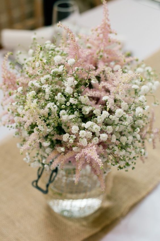 Gyposophia Astilbe Hessian Jar Flowers Centrepiece Table / http://www.himisspuff.com/astilbes-wedding-ideas/3/