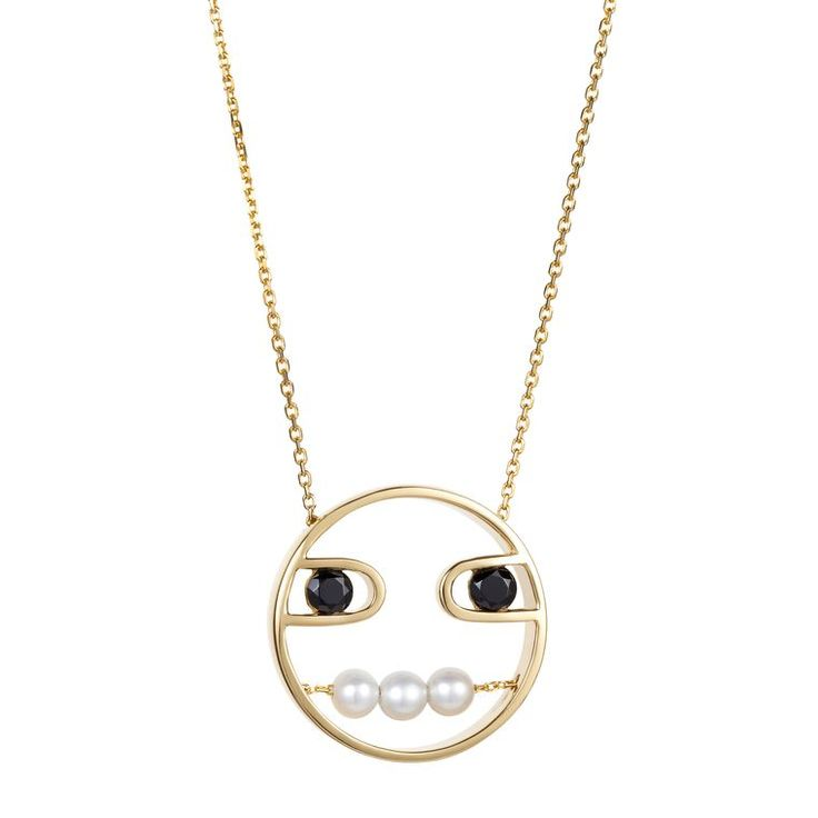 Ruifier's Paola yellow gold pendant has a pearly white mouth to contrast with its dark spinel eyes. Discover how to wear modern pearl jewellery in a cool new, young way: http://www.thejewelleryeditor.com/jewellery/how-to-wear-pearls-2016/ #jewelry