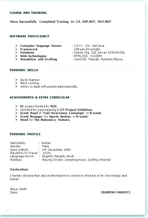Fresher Resume Format Of For Freshers