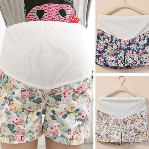 Woman Maternity Shorts Casual Over Bump Hot Pants Soft Floral Short Trousers