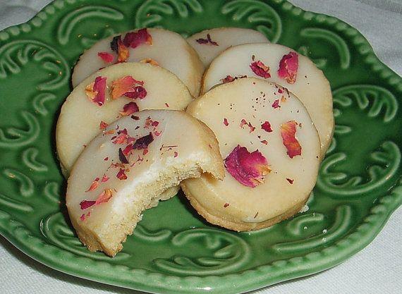 2 Dozen Rose Water Shortbread Cookies W/ Rose Water Glaze on Etsy, $11.50