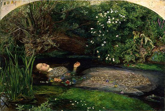 Ophelia, painting by John Everett Millais, 1851-52, oil on canvas, Tate Collection, London, UK