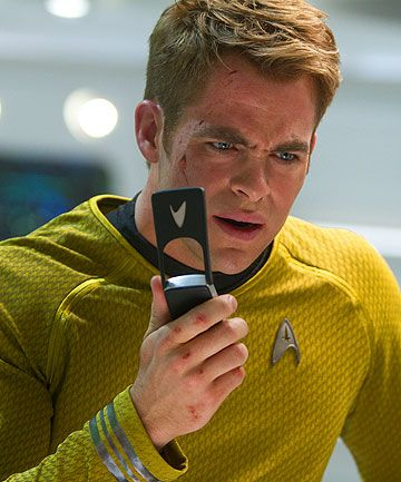 Star Trek Into Darkness .Captain Kirk, Chris Pine........ (apparently they have flip phones in the future)