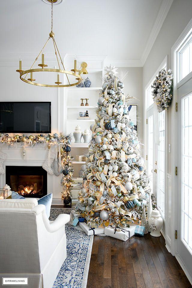 Elegant Christmas Living Room Soft Blue Gold Citrineliving Glam Christmas Decor Christmas Decorations Living Room Blue Christmas Decor