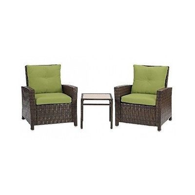 Patio Furniture Set Clearance Wicker Chairs Cushions Accent Table Outdoor Green
