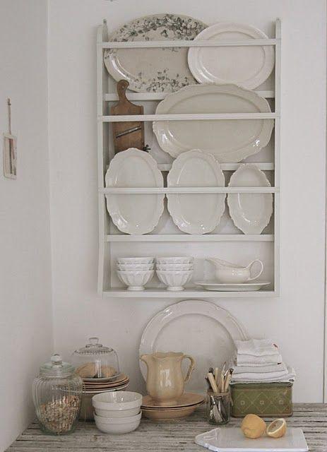 plate rack with ironstone  via Karyn Armour