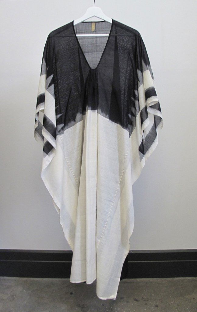 Ikat caftan with white front