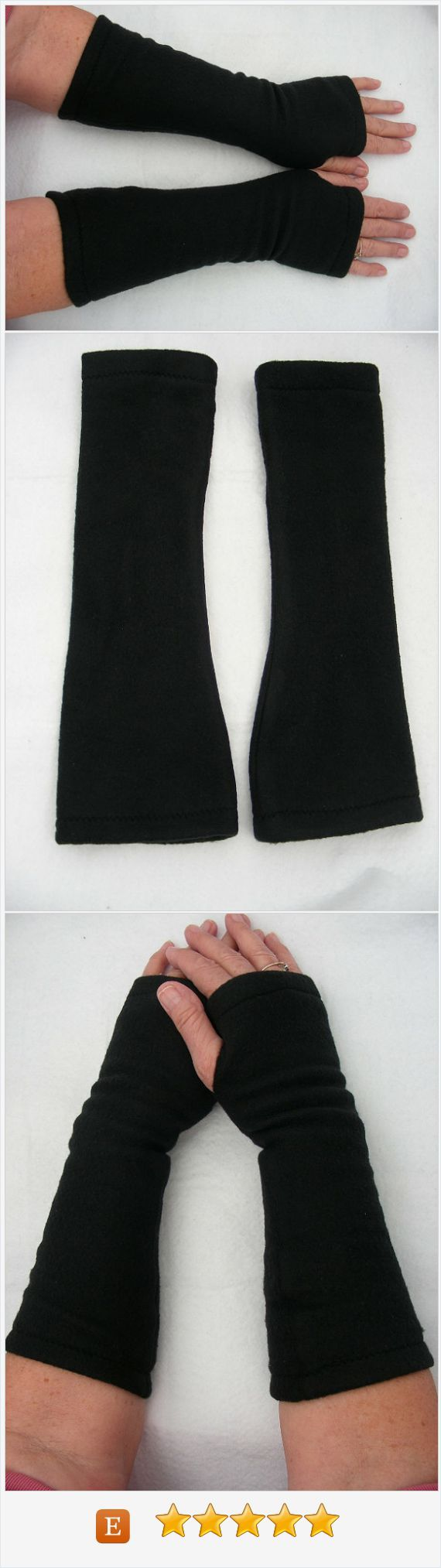 Mens fleece gloves xxl - Black Fleece Fingerless Gloves Black Arm Warmers Fleece Gloves Texting Gloves Cycling