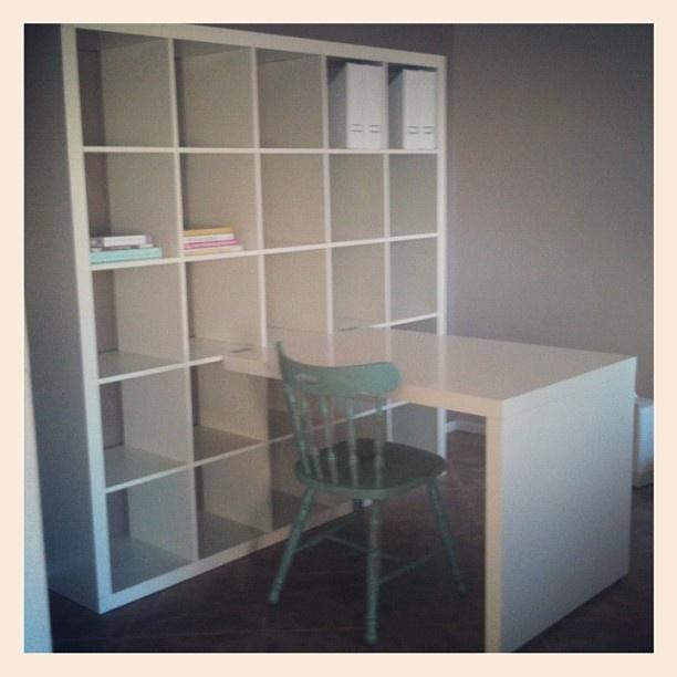 Desk built into wall unit