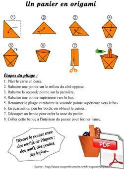 Panier en origami - Pâques