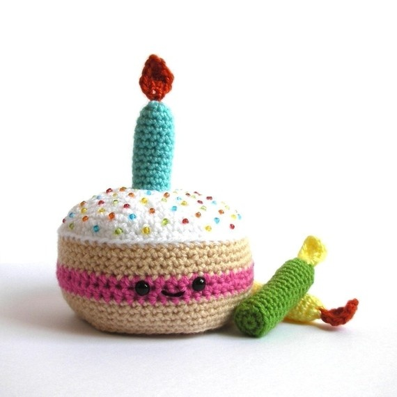 Birthday Cake Crochet Amigurumi Stuffed Animals Pinterest
