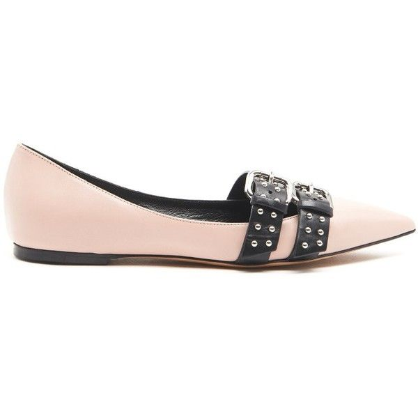 REDVALENTINO Ballet Flats With Pointed Toe And Buckle With Studs ($495) ❤ liked on Polyvore featuring shoes, flats, pink, ballerina pumps, pink pointed toe flats, ballet flat shoes, ballet shoes and ballet flats