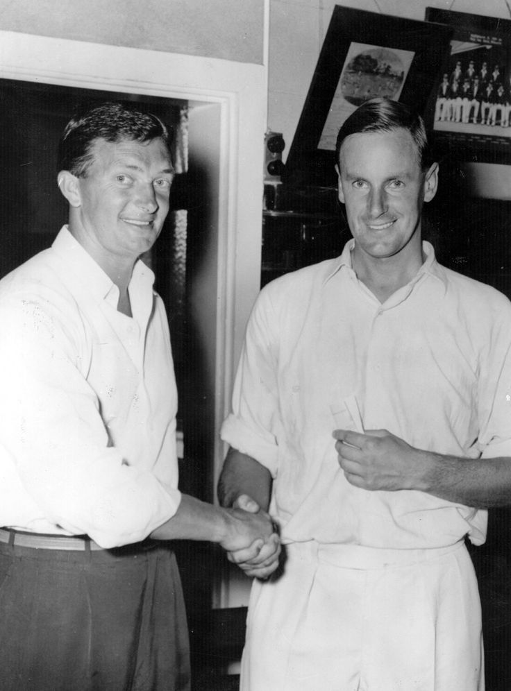 Benaud with Peter May after beating England 4-0 to regain the Ashes in 1958-59