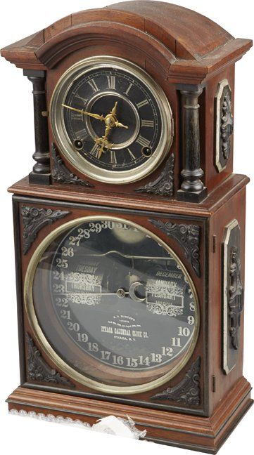 Antique Ithaca Double Dial Walnut Calendar Clock.