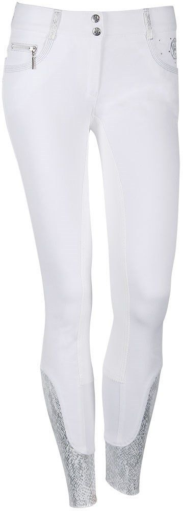 These competition breeches are so pretty! They have silver embroidery and accents. Very classy... Breeches - Royal Competition Plus - White