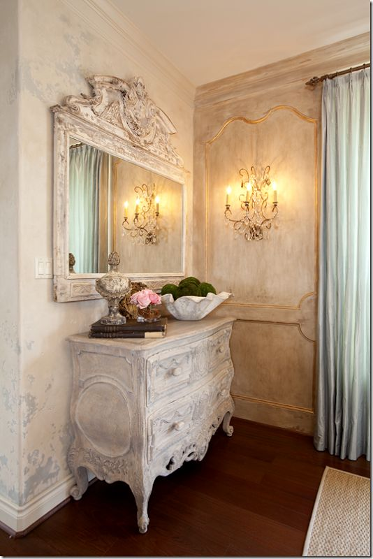 Love the paneled wall with gilding sconce chest and for French shabby chic bathroom ideas