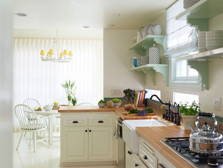 pretty counters and sink with open shelves: Kitchens, Interior Design, Dining Room, Idea, Color, House, Light, Open Shelving