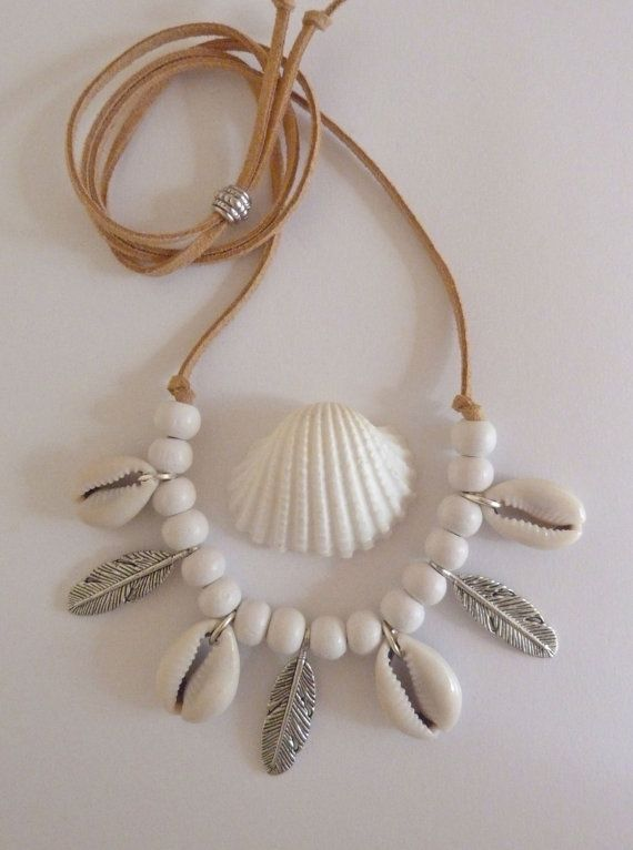 bohemian jewelry cowrie shell necklace feather by beachcombershop