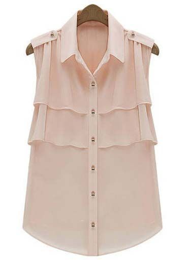 Light Pink Lapel Sleeveless Cascading Ruffle Chiffon Blouse