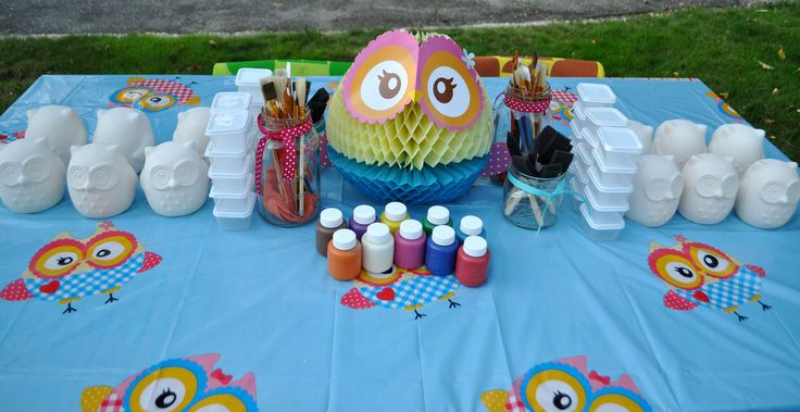 DYI owl painting. Games/projects like this are great for a party because once you have it set up you don't have to do much. This activity also doubles as a party favor.