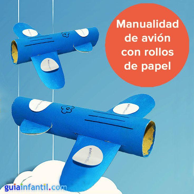 Manualidad de avi n con rollos de papel higi nico un - Manualidades de papel reciclado ...